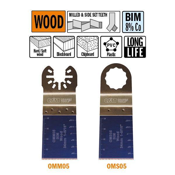 34 mm. Bi-metaal multitool met extra lange standtijd, vertanding voor in hout