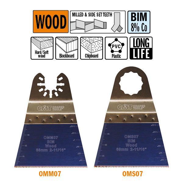 68 mm. Bi-metaal multitool met extra lange standtijd, vertanding voor in hout