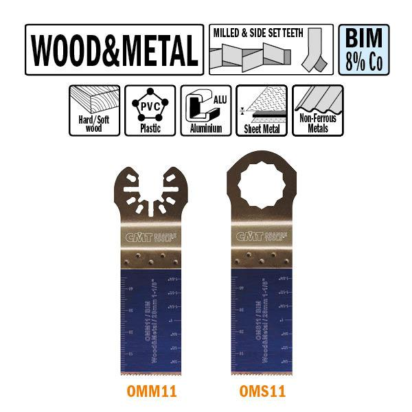 28 mm. Bi-metaal multitool voor hout en metaal