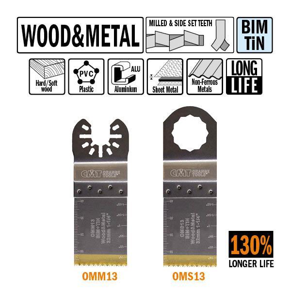 32 mm. Bi-metaal TIN multitool met extra lange standtijd, voor hout en metaal