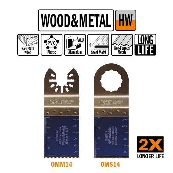 35 mm. HM multitool met extra lange standtijd, vertanding voor hout en metaal
