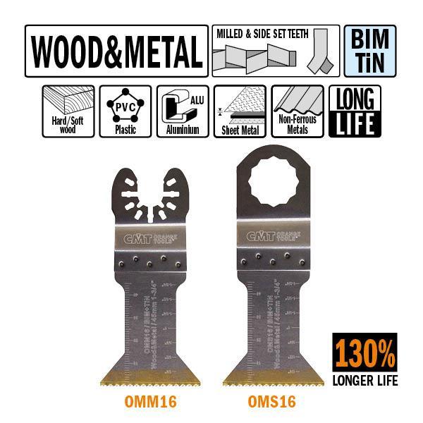 45 mm. Bi-metaal TIN multitool met extra lange standtijd, voor hout en metaal