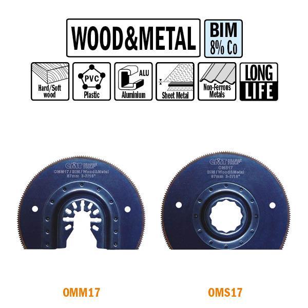 87 mm. Bi-metaal radial-zaagblad voor hout en metaal