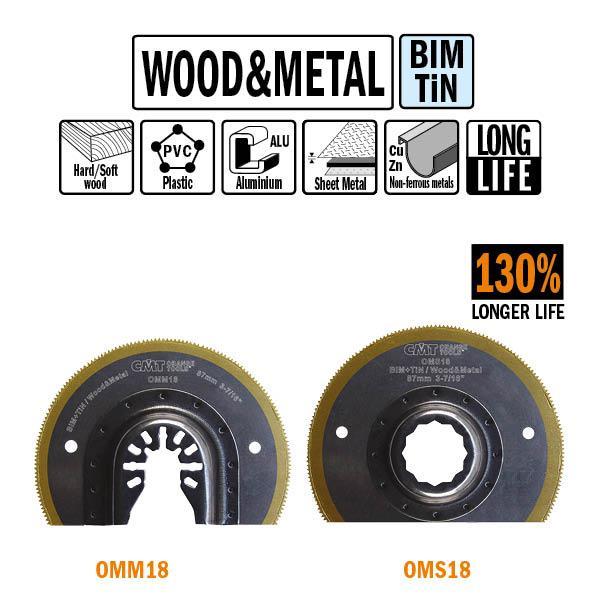 87 mm. Bi-metaal TIN radiaal zaagblad met extra lange standtijd, voor hout en metaal