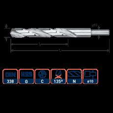 HSS-G spiraalboor, DIN 338, type N, Ø13,5 mm. S=Ø10