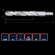 HSS-G spiraalboor, DIN 338, type N, Ø13,5 mm. S=Ø13