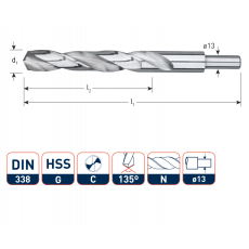 HSS-G Spiraalboor, DIN338, type N Ø22,0 mm. S=Ø13