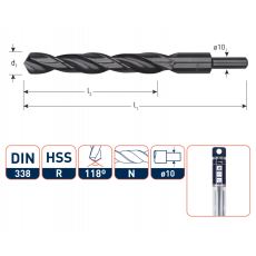 HSS-R Spiraalboor DIN 338, type N, Ø15,0 mm. S=Ø10