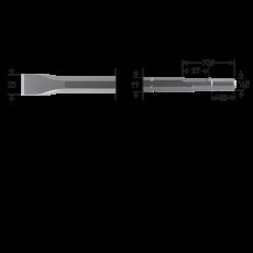 6-kant 19/16,5x35 platte beitel, 25x300mm