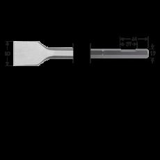 6-kant 19 met uitsparing, spadebeitel, 50x400mm