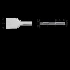6-kant 17/13x45, Spadebeitel 50x280mm