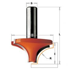 HM holle radiusfrees Ø 19 x 12/43,8 mm. R=4
