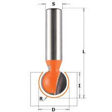 HM bolle radiusfrees Ø 19,05 x 17,4/63,5 mm. R=9,52