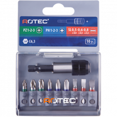 10 dlg. 1/4 Bitset 25 mm. PZ/PH/SL + Quick-lockhouder
