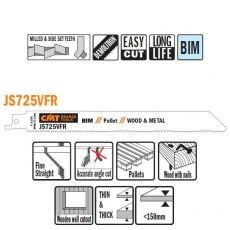 Bi-metaal reciprozaagblad 200 x 19 mm. 8-12tpi (5 stuks)