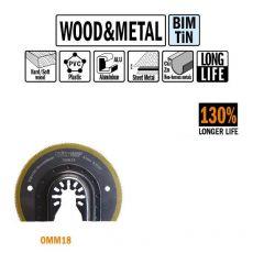 87 mm Bi-metaal TIN radial-zaagbl. voor hout en metaal 1st. (Universeel)
