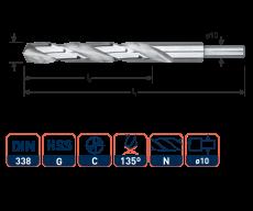 HSS-G spiraalboor, DIN 338, type N, Ø12,5 mm. S=Ø10