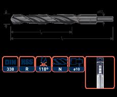HSS-R Spiraalboor DIN 338, type N, Ø18,5 mm. S=Ø10
