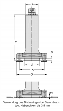 Opnamedoorn t.b.v. lamellofrees asgat Ø22, S=Ø25x65
