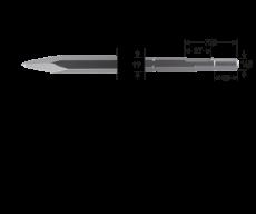 6-kant 19/16,5x35 puntbeitel, L=300mm