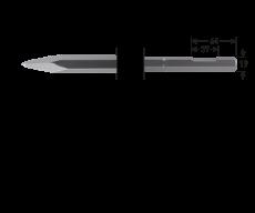 6-kant 19 met uitsparing, puntbeitel, L=300mm