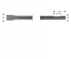 6-kant 19 met uitsparing, platte beitel, 24x400mm