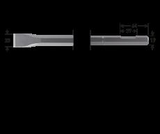 6-kant 19 met uitsparing, platte beitel, 24x600