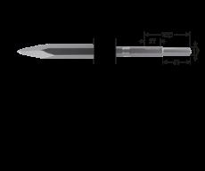 6-kant 21/19x61 puntbeitel, L=380mm