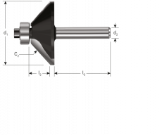 HM Fasefrees 45°, GOLD-LINE, Ø28,6 x 9 mm., d2=8
