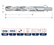 HSS-G Spiraalboor, DIN338, type N Ø23,0 mm. S=Ø13