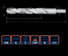 HSS-G spiraalboor, DIN 338, type N, Ø15,5 mm. S=Ø13