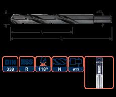 HSS-R Spiraalboor DIN 338, type N, Ø13,5 mm. S=Ø13