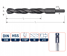HSS-R Spiraalboor DIN 338, type N, Ø13,0  mm. S=Ø10