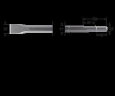 6-kant 19/16,5x35 platte beitel, 25x400mm