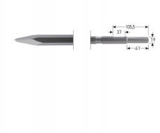 6-kant 21/19x61 puntbeitel, L=300mm