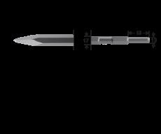6-kant 17/13x45, puntbeitel L=450mm