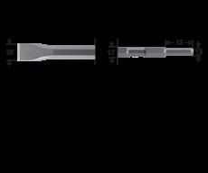 6-kant 17/13x45, platte beitel 25x280mm