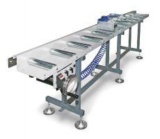Metallkraft rollenbanen met digitaal meetsysteem en aanslag