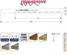 Decoupeerzaag Bi-metaal 100x7,5x1,25mm voor hard en zachthout (5st.)