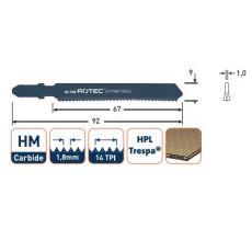 Decoupeerzaagblad 92x9x1,0mm. voor laminaat en HPL (trespa) (3st.)