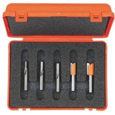 Set van 5 rechte frezen in pvc kistje met opname Ø8mm.