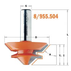 Verstekfrees met rechte hoeken Ø44,5 mm. S=Ø8