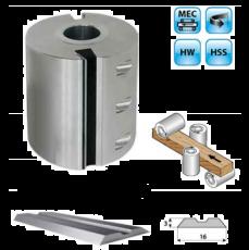 Aluminium schaafkop Ø125mm met HSS centrolock messen, asgat Ø40, MEC
