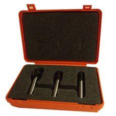 Set van 3 rechte frezen in pvc kistje - met inboor snijplaat
